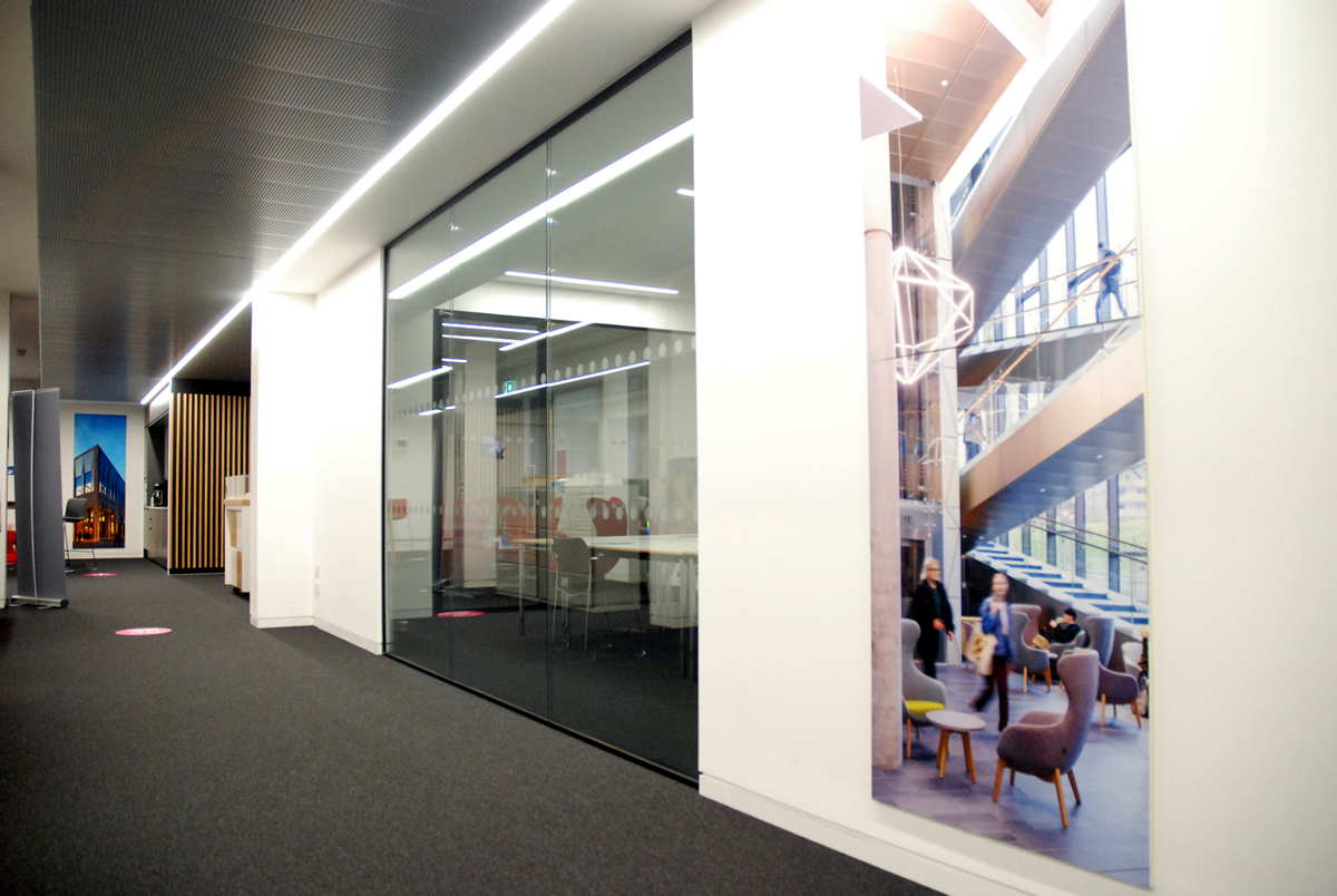 Office fitout partitioning and walkway